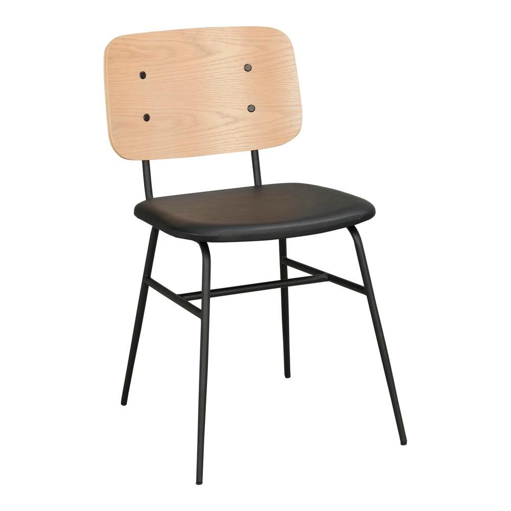 Jasnobrązowe krzesło z czarnym siedziskiem Rowico Brent
