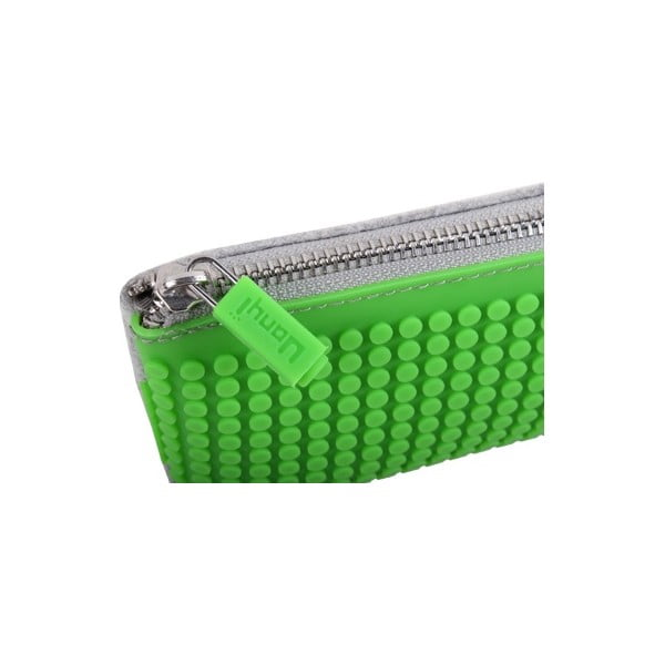 Pikselowy piórnik, szary/intensywnie zielony