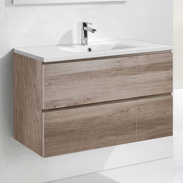 Szafka do łazienki z umywalką i lustrem Monza, motyw dębu, 120 cm