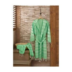 Zestaw szlafrok i ręcznik Sultan Light Green, rozmiar L/XL