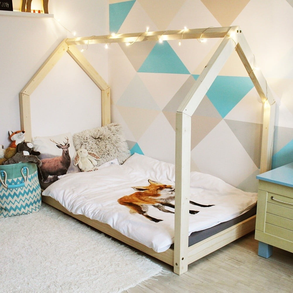 drewniane ko jednoosobowe w kszta cie domku benlemi tery 80x200 cm bonami. Black Bedroom Furniture Sets. Home Design Ideas