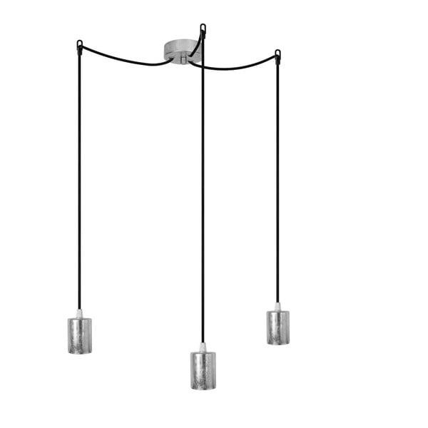 Lampa wisząca potrójna Cero, srebrny/czarny/srebrny