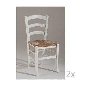 Zestaw 2 białych krzeseł drewnianych do jadalni Castagnetti Sedia