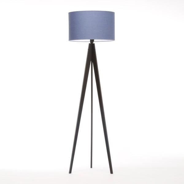 Niebieska lampa stojąca Artist, czarna lakierowana brzoza, 150 cm