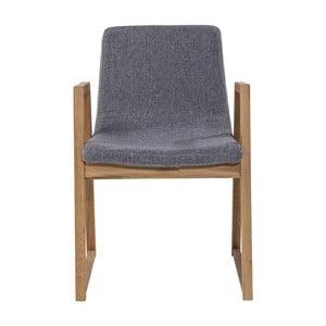 Szare krzesło z dębowymi nogami Kare Design Trapez