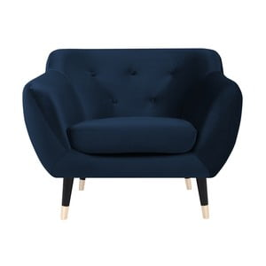 Granatowy fotel z czarnymi nogami Mazzini Sofas Amelie