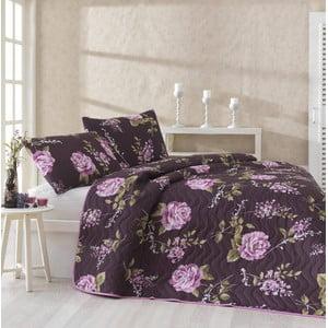 Pikowana narzuta i poszewki na poduszki Serenay Purple, 200x220 cm
