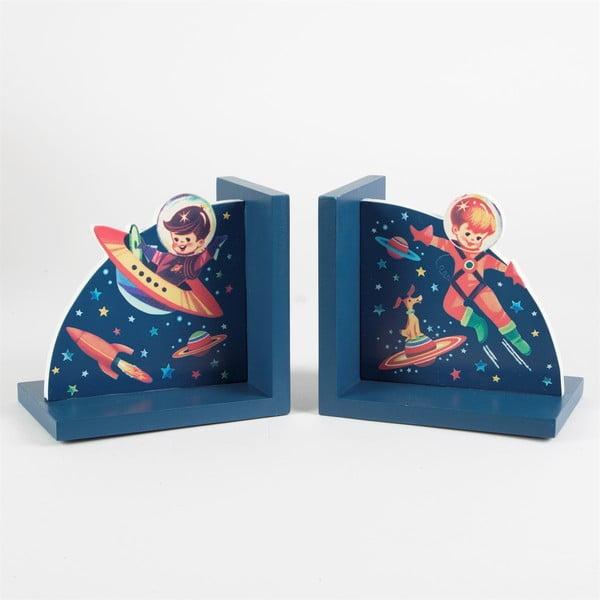 Niebieskie podpórki na książki Sass & Belle Retro Space