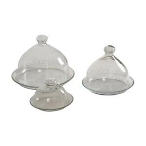 Zestaw 3 szklanych talerzy z kloszem Antic Line Bell