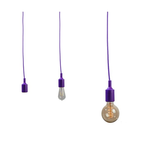 Materiałowy kabel z oprawką 3 m - fioletowy