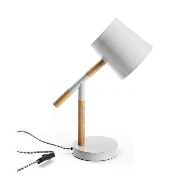 Biała lampa stołowa z drewnianymi elementami Versa