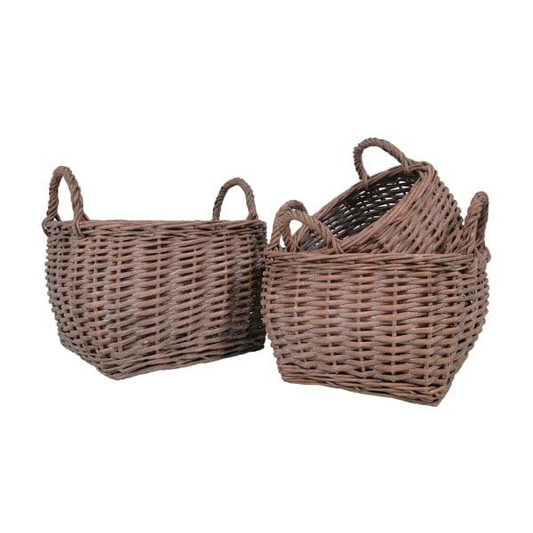 Zestaw 3 wiklinowych koszyków Baskie