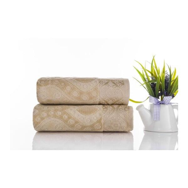 Zestaw 2 ręczników Sal Light Brown, 50x90 cm