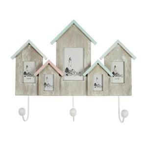 Drewniany wieszak z ramką na zdjęcia Houses, 46x37 cm