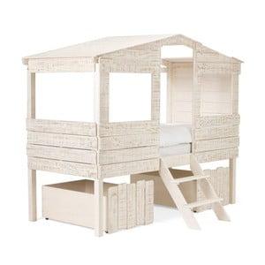 Białe łóżko dziecięce z drewna mango SOB Desert