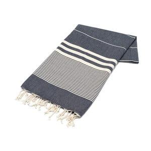 Granatowy ręcznik Hammam Hereke, 100x180cm
