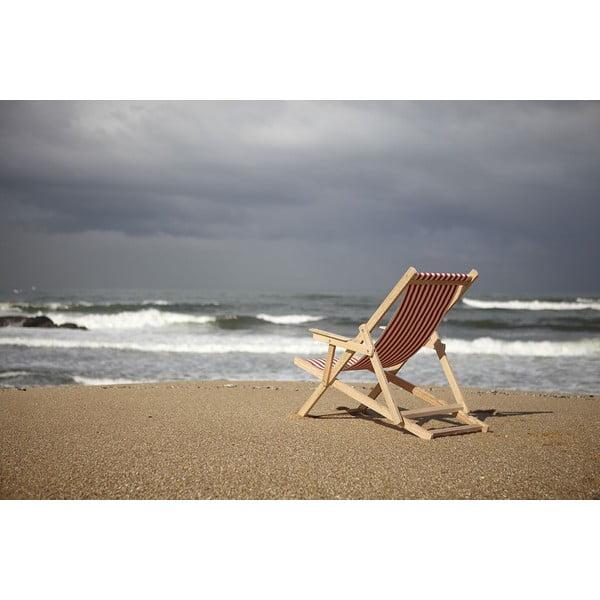 Leżak składany Beach, niebieskie paski