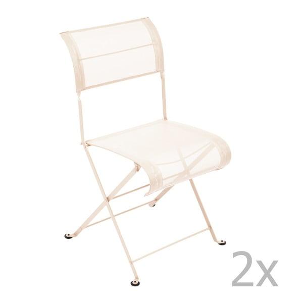 Zestaw 2 kremowych krzeseł składanych Fermob Dune