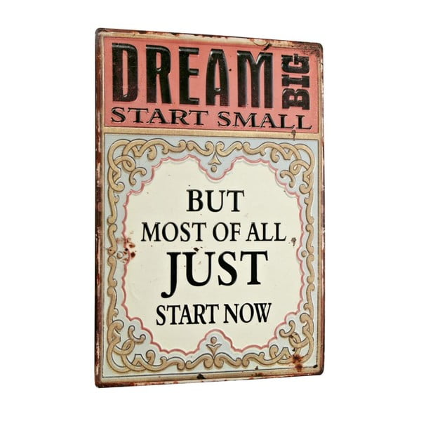 Tablica Dream big, start small, 26x35 cm
