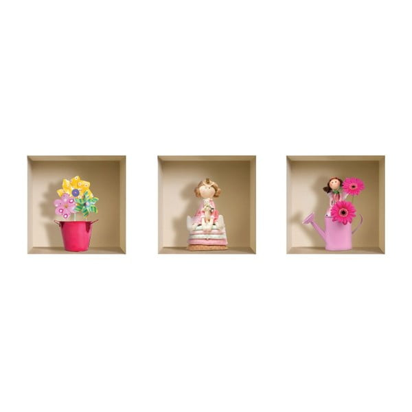 Naklejki na ścianę 3D Funny Flowers, 3 szt.