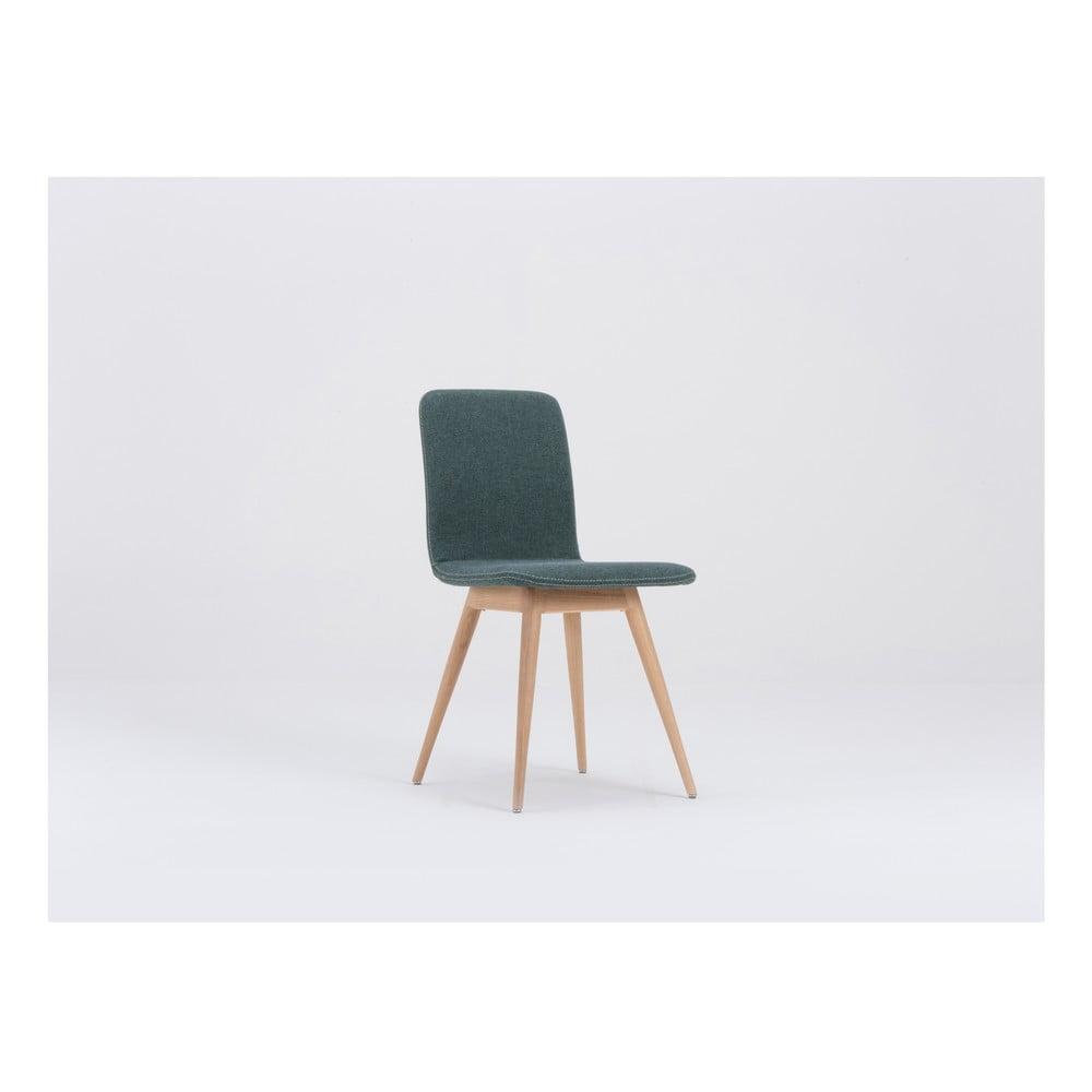Zielone krzesło do jadalni z dębową konstrukcją Gazzda Ena
