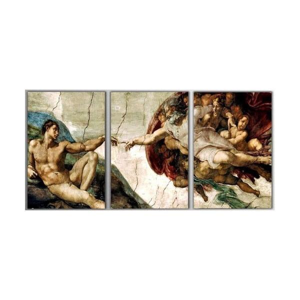 Trzyczęściowy obraz The Creation of Adam, 45x90 cm