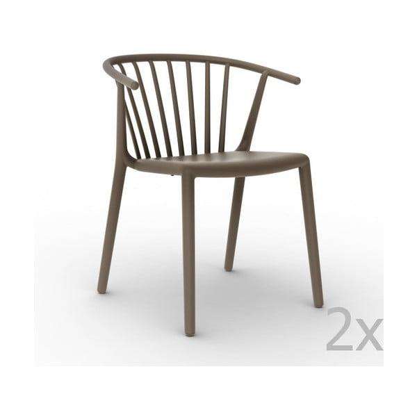 Zestaw 2 brązowych krzeseł ogrodowych Resol Woody
