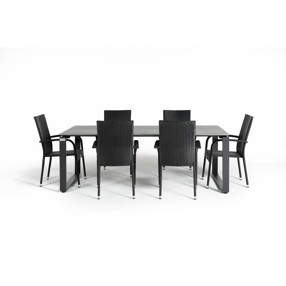 Szary zestaw mebli ogrodowych z 6 krzesłami Le Bonom Paris Strong