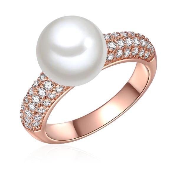Pierścień w kolorze różowego złota z białą perłą Perldesse Muschel, rozm. 58