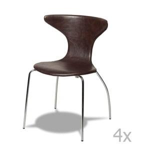 Zestaw 4 ciemnobrązowych krzeseł Furnhouse Suki