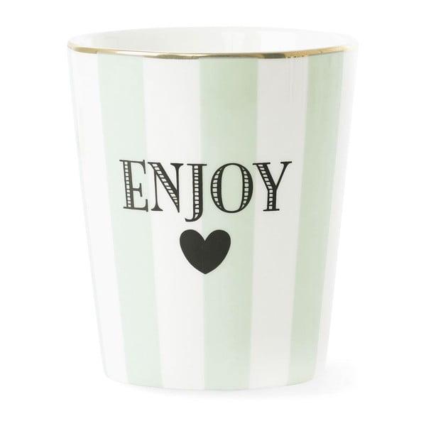 Kubek ceramiczny Miss Étoile Enjoy Stripe Aqua Green