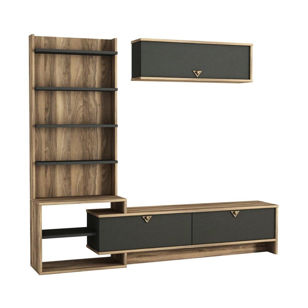 Meblościanka z szafką pod TV w dekorze drewna orzecha Piril