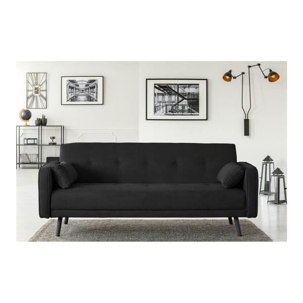 Czarna 3-osobowa sofa rozkładana Cosmopolitan Design Bristol