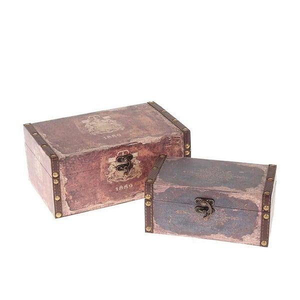 Zestaw 2 pudełek Brown Canvas