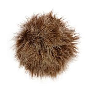 Brązowa poduszka futrzana do siedzenia z długim włosiem, Ø 35 cm