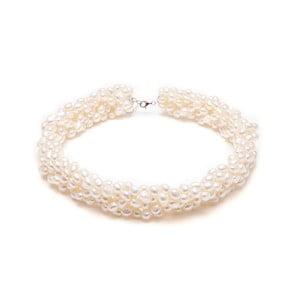 Naszyjnik z pereł słodkowodnych Twist, biały