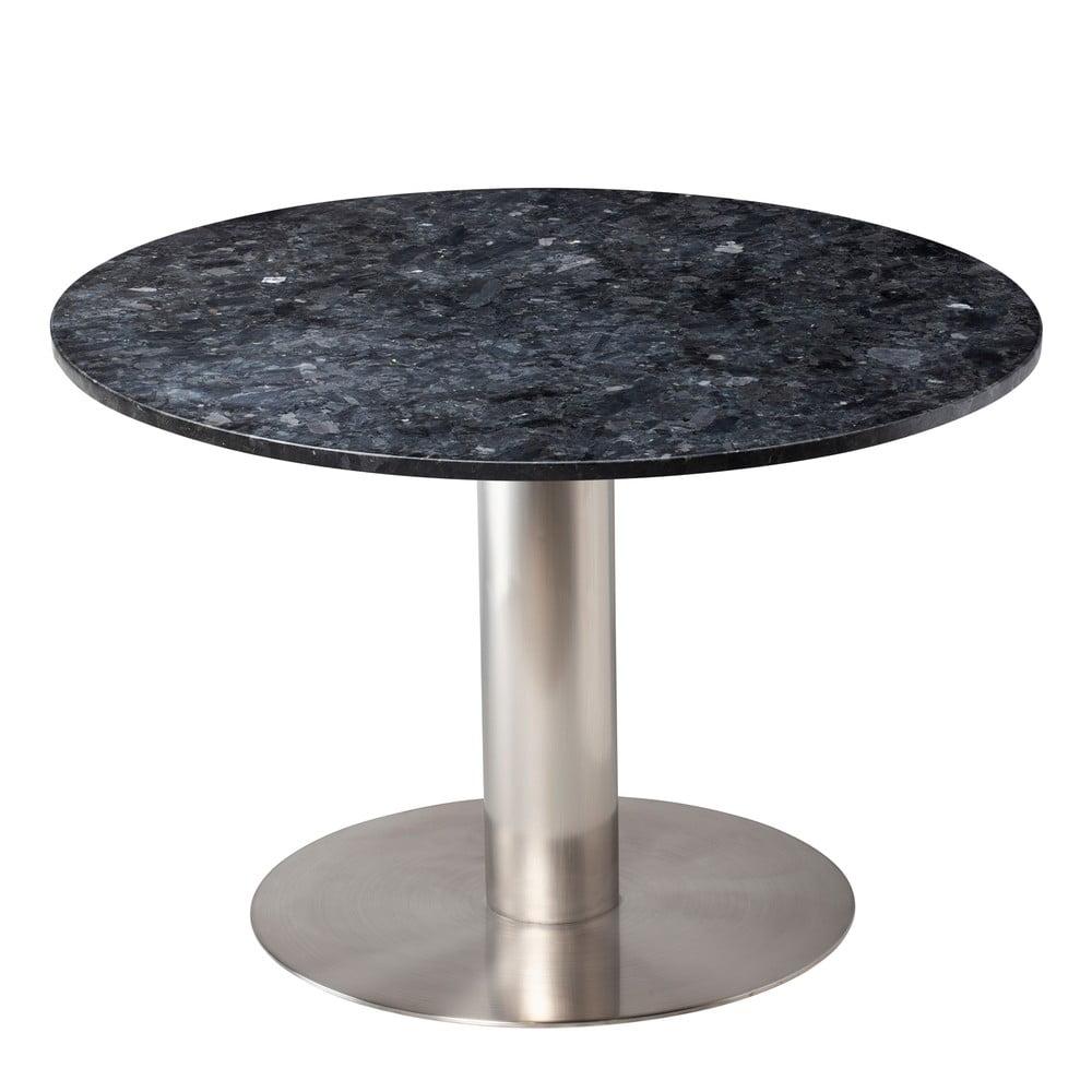 Czarny granitowy stół z konstrukcją w kolorze srebra RGE Pepo, ⌀ 105 cm