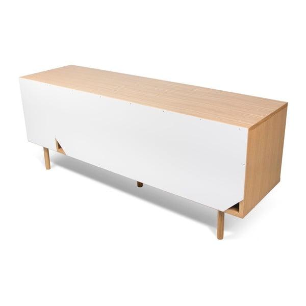 Biało-szara komoda z drewnianymi nogami TemaHome Dann Walnut