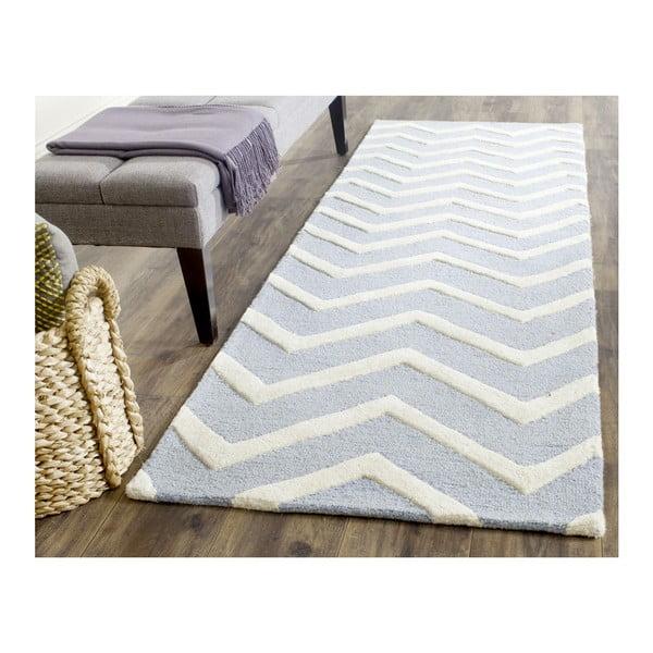 Wełniany dywan Edie Light Blue, 91x152 cm