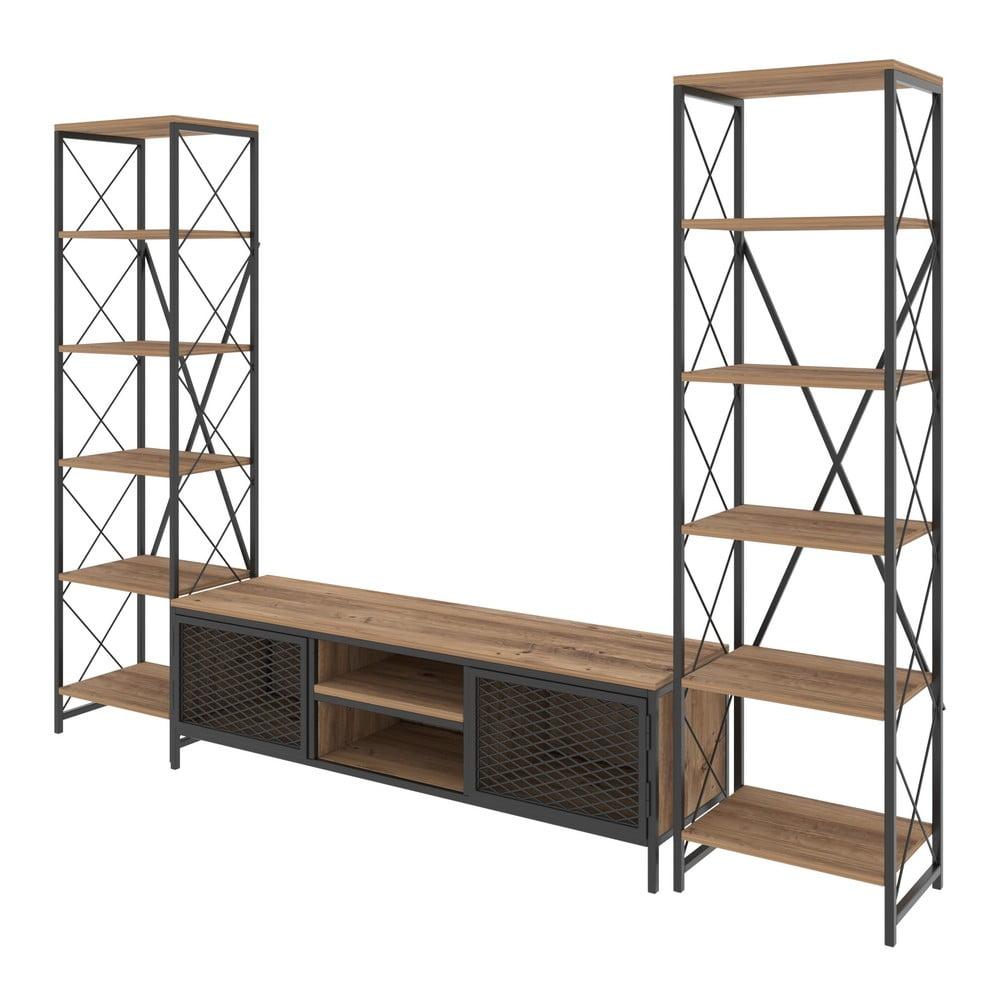 Zestaw komody pod TV i 2 szafek w dekorze drewna sosnowego Maxim