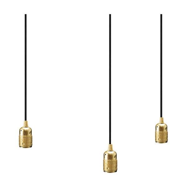 Potrójny czarny kabel wiszący z oprawą żarówki w złotym kolorze Bulb Attack Uno