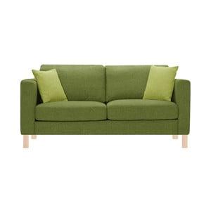 Zielona sofa trzyosobowa z 2 jasnozielonymi poduszkami Stella Cadente Canoa
