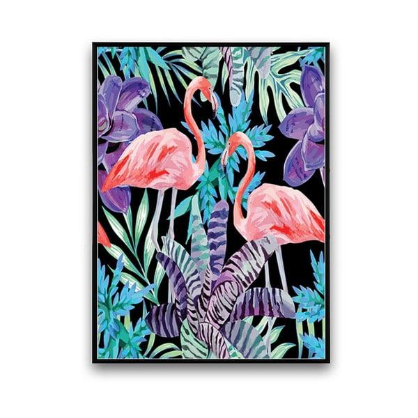 Plakat z flamingami i kwiatami, czarne tło, 30 x 40 cm
