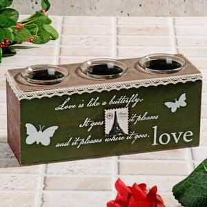 Drewniany świecznik Butterfly Love