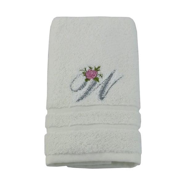 Ręcznik z inicjałem i różyczką W, 50x90 cm