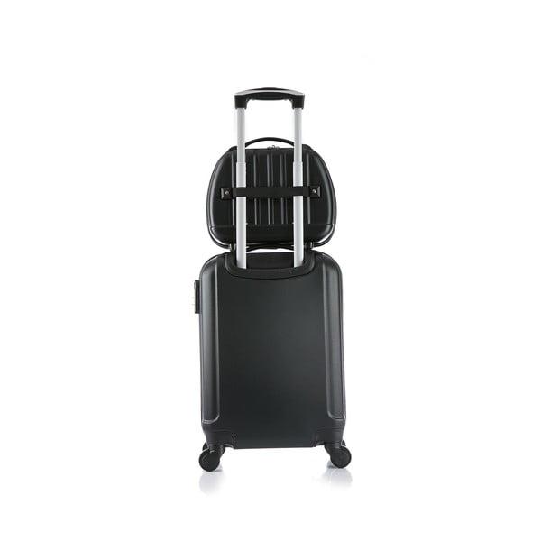 Czarna walizka z bagażem podręcznym Bluestar