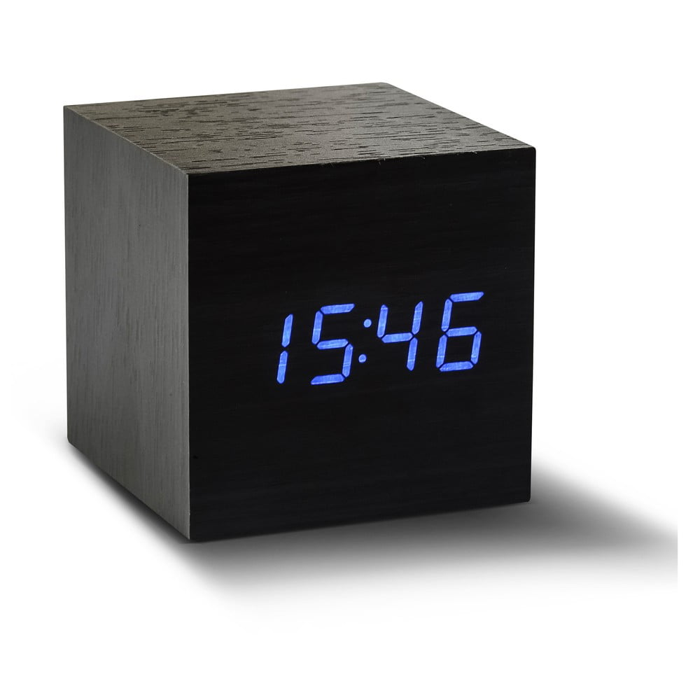 czarny budzik z niebieskim wy wietlaczem led gingko cube click clock bonami. Black Bedroom Furniture Sets. Home Design Ideas