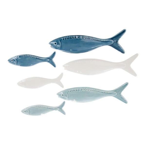 Zestaw 3 dekoracji ceramicznych Fish Blue, 21x7 cm