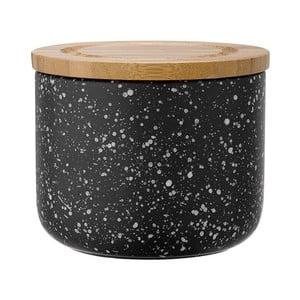 Czarny pojemnik ceramiczny z bambusowym wieczkiem Ladelle Speckle, wys. 9cm