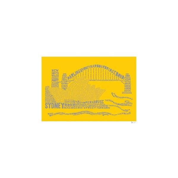 Plakat Sydney Yellow&Grey, 50x70 cm